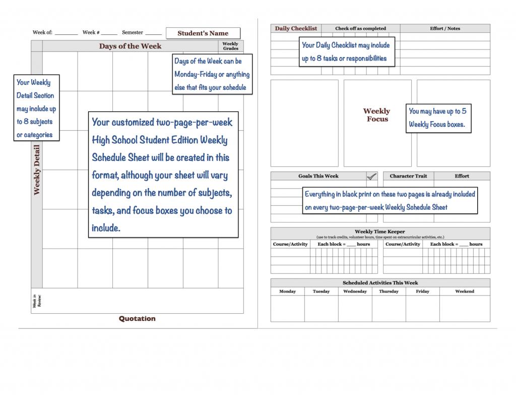 weekly schedule sheet