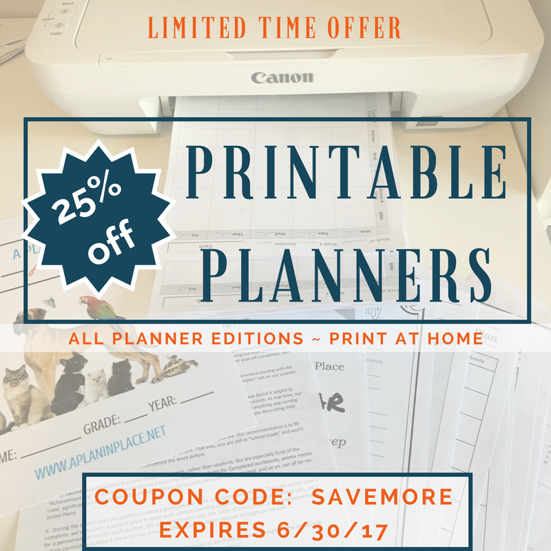 Printable Planners Discount