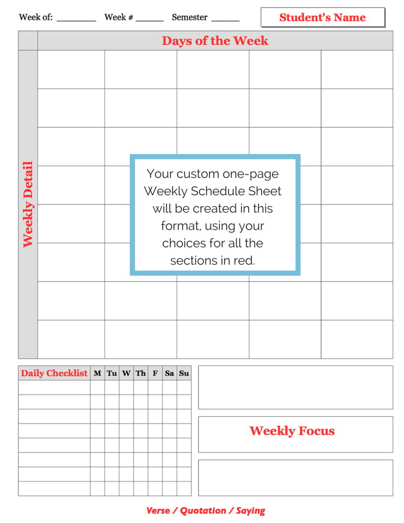 weekly schedule sheet examples a plan in place